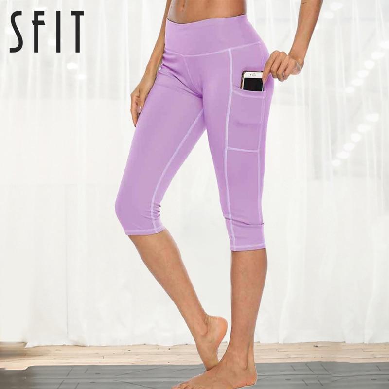 Sfit mujer entrenamiento Capri Fitness Leggings con bolsillo lateral cintura alta corriendo pantalones de Yoga ropa deportiva mallas deportivas para mujer Pantalones