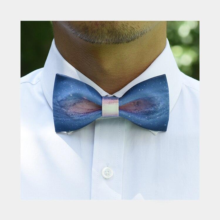 New Free Shipping men's male female Wedding bow tie Handmade Galaxy Star Print Groomsman Groom Gift British Bowtie