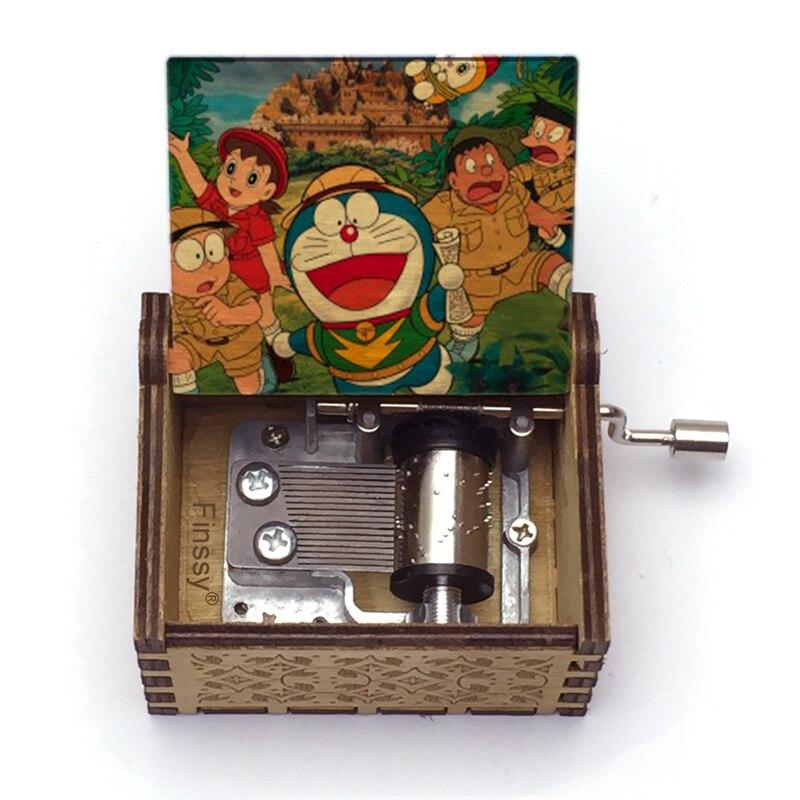 Hand Wooden Music Box Doraemon Shizuka Print Musical Box Music Student Gift Boy Girl Kids Birthday G