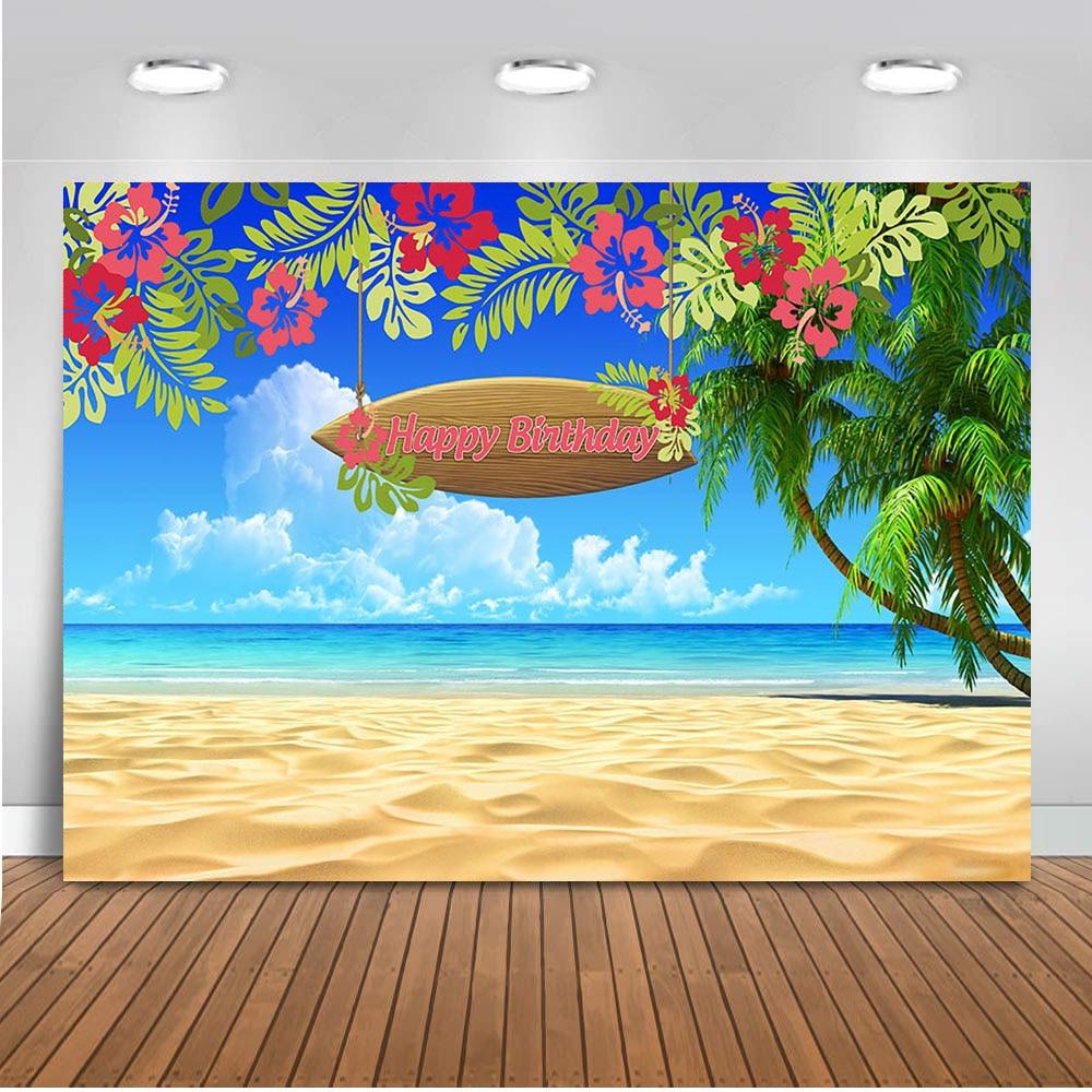 Летний праздничный фон Neoback для фотосъемки С Днем Рождения вечерние фоны для песочного пляжа Вечерние Декорации для фотостудии
