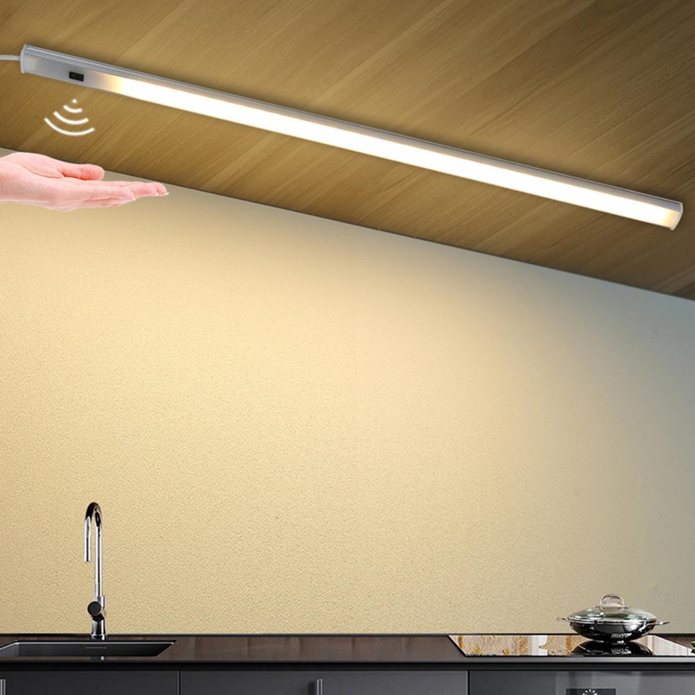 Luz LED inteligente de 5V alimentada por USB para cocina, lámpara con Sensor de barrido manual, retroiluminación de alto brillo para armarios y cajones de 30/40/50 cm