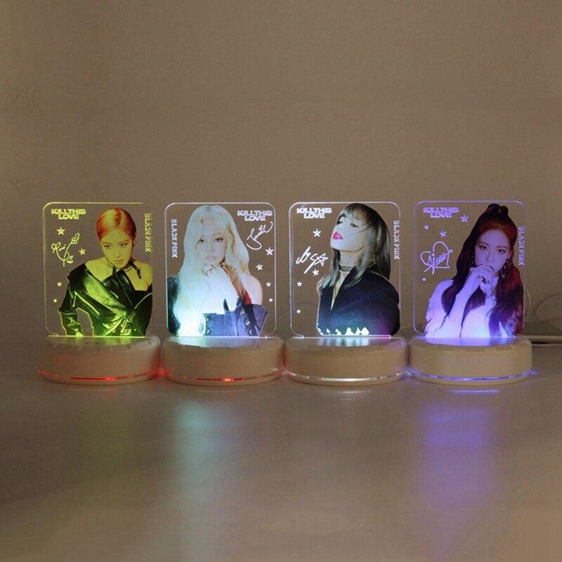 Miembros de color negro Rosa LED luz de noche mata este amor mesa escritorio lámpara Fans soporte regalos papelería conjunto