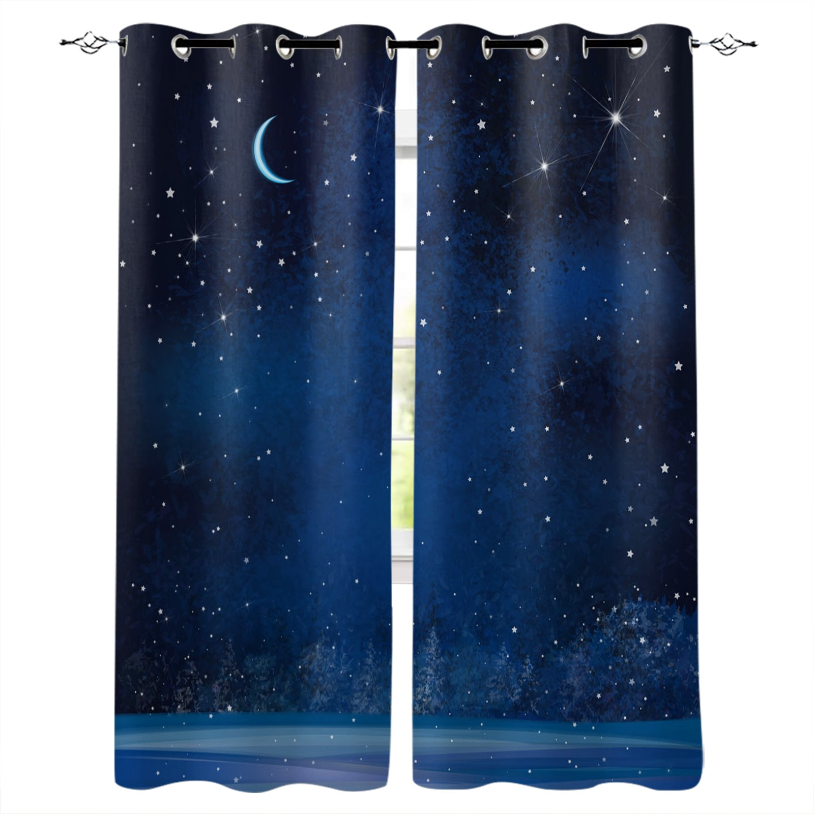 النجوم السماء المرصعة بالنجوم القمر الأشجار الجميلة الحديثة الستائر لغرفة المعيشة غرفة نوم المطبخ الستائر الستائر أشكال عرض النوافذ