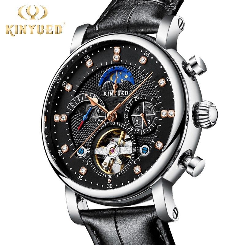 KINYUED Классические Механические часы Moonphase Роскошные мужские автоматические наручные часы с турбинами мужские часы montre homme 2020
