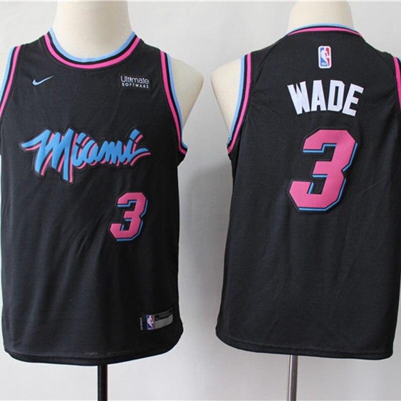 La NBA niños Miami calor #3 Dwyane Wade camisetas de baloncesto edición...