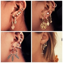 Vintage mixte métal goutte boucles doreilles ensemble pour femmes femme or lune étoile carte croix petite manchette pince bijoux accessoires