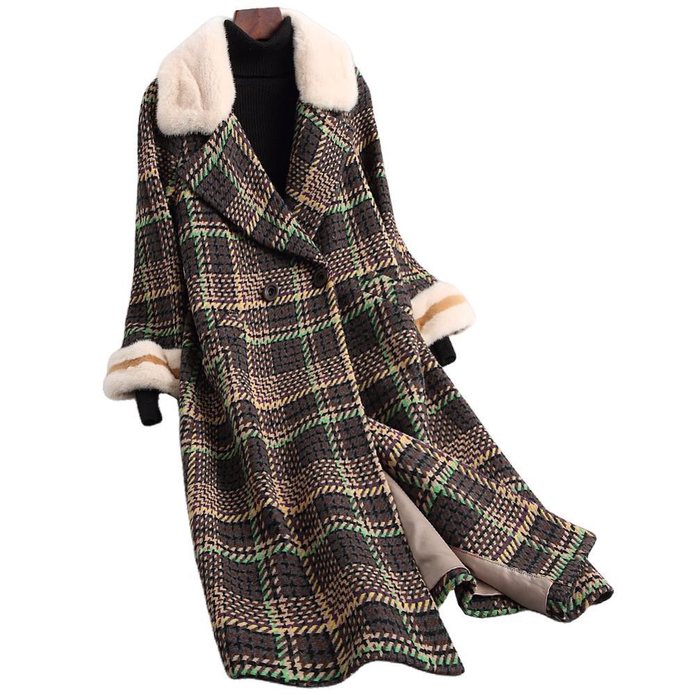 Inverno quente de lã trench coat feminino elegante longo jaqueta senhoras outwear real vison gola de pele casaco moda roupas