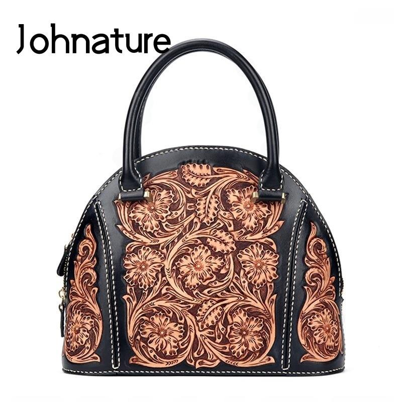 Johnature, bolsos de lujo tallados en cuero hechos a mano de primera clase, bolsos de mujer, diseñador 2020, nuevos bolsos de alta calidad, bolso de piel de vaca