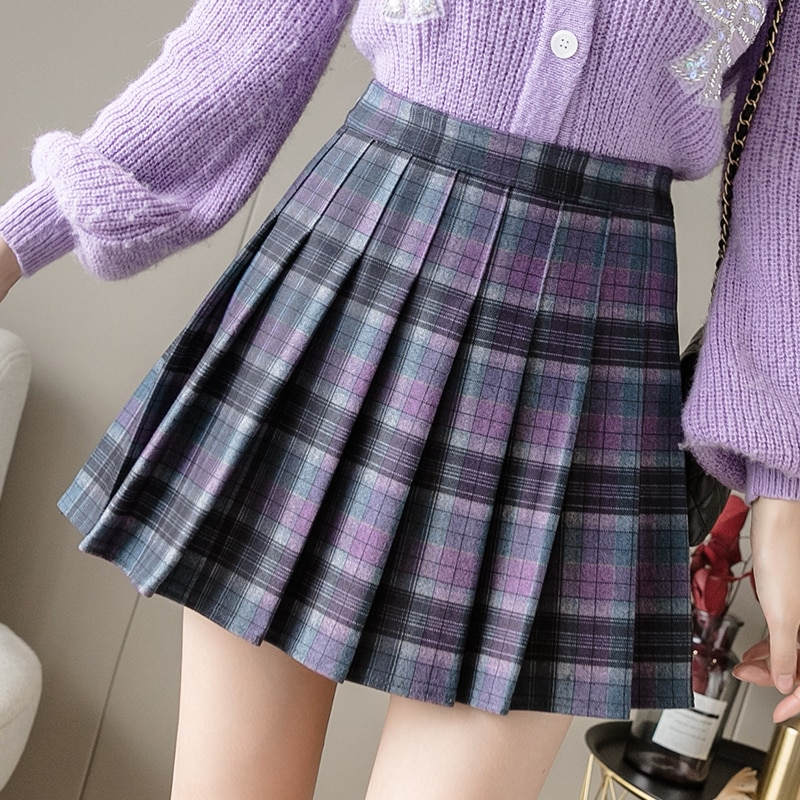 3 Colors New Winter Mini Women Skirts Vintage Woolen Pleated Skirt Female High Waist A Plaid Mujer