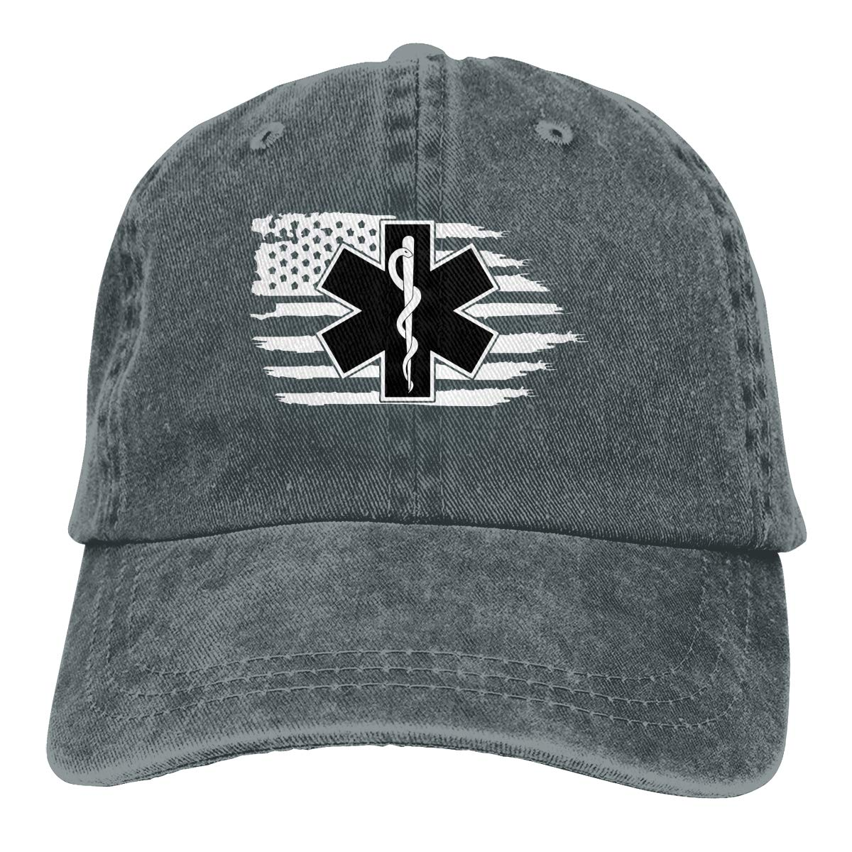 Bandera Americana EMS estrella de la vida EMT paramédico médico gorra de béisbol papá sombrero ajustable gorra gorro desestructurado visera gorra