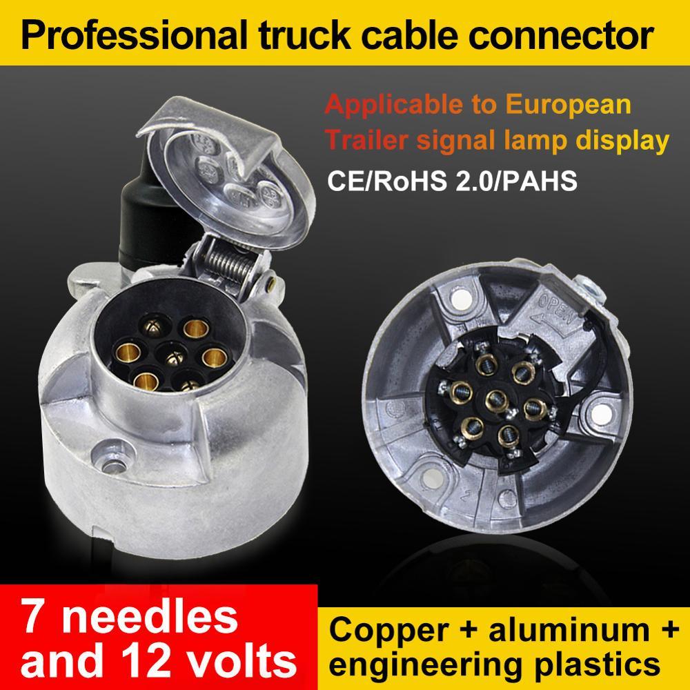 12 В, 7-контактный круглый алюминиевый разъем для прицепа, водонепроницаемый прицеп, буксирный соединитель для лампы светильник цепа