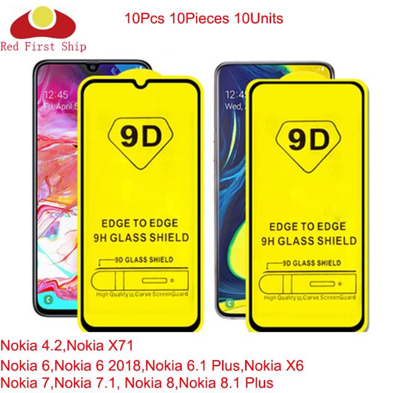 10Pcs/lot 9D Tempered Glass For Nokia 7 7.1 8 8.1 Plus Screen Protector For Nokia 4.2 X71 6 6.1 Plus full cover film Movie 9H 9D