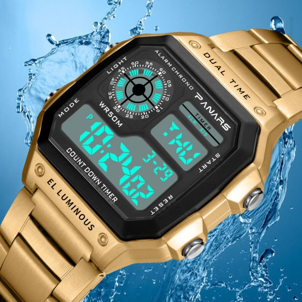 PANARS Sports Mens Retro Watches Waterproof Count Down Timer Digital Diving Watch Men Stopwatch Male Clock g Fashion shock