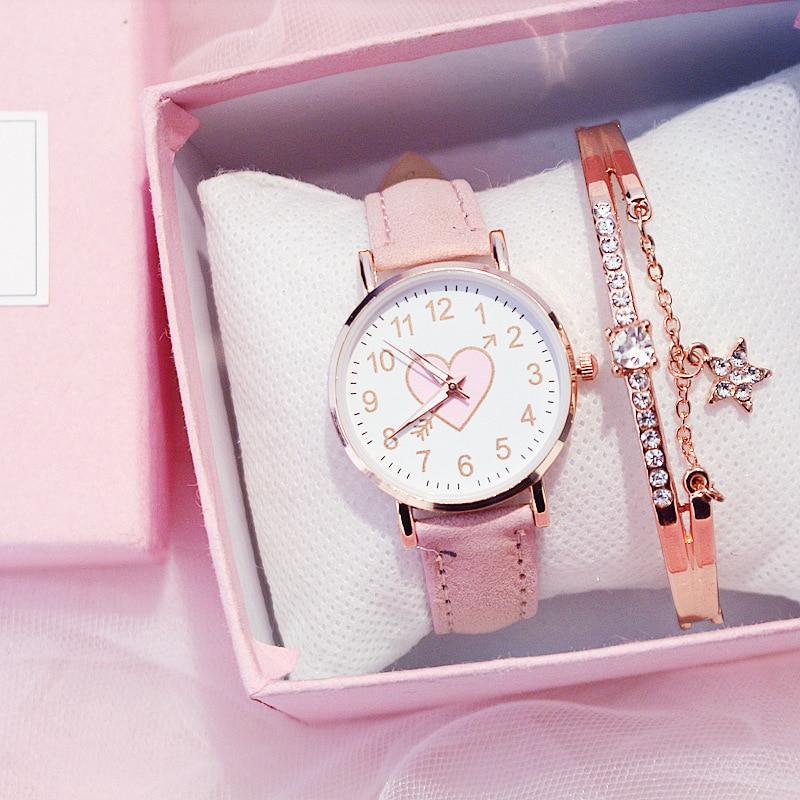 Sakura Pink Children's Female Watch Female Student Fashion Watch Simple Girl Girlfriends Cute One Ar
