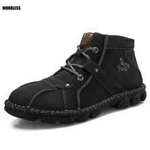 Men Shoes Leather Causal Soft Breathable High Top Flats Lace-up Sneakers Brand Male Footwear Plus Si