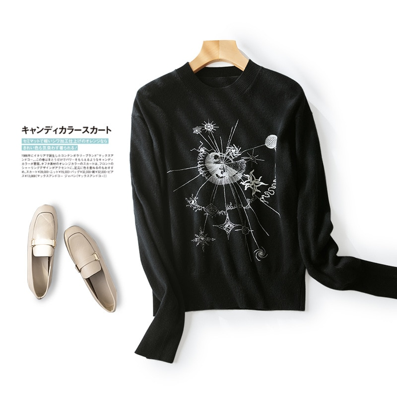 Shuchan Embroidery Wool Knit Sweater Pullover Autumn Winter New 2021  High Street Fashion A-straight  Fall Clothes for Women enlarge