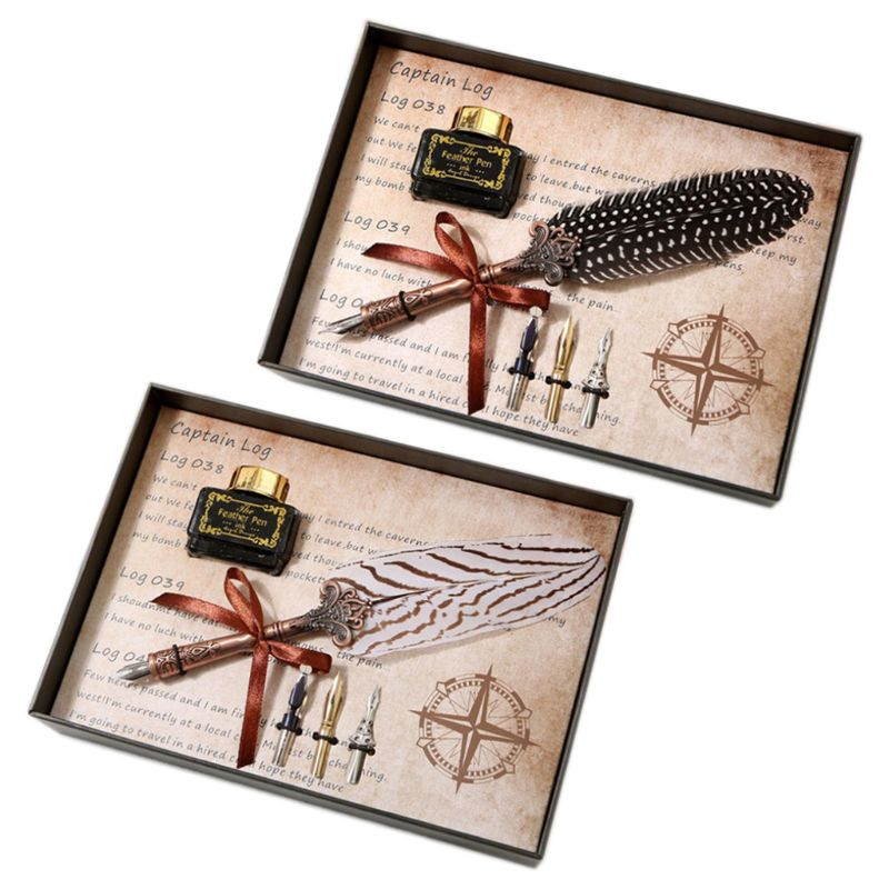 Vintage Feather Quill Dip Pen Fountain Pens With Ink +3 Nibs Set Box Stationery K3KB
