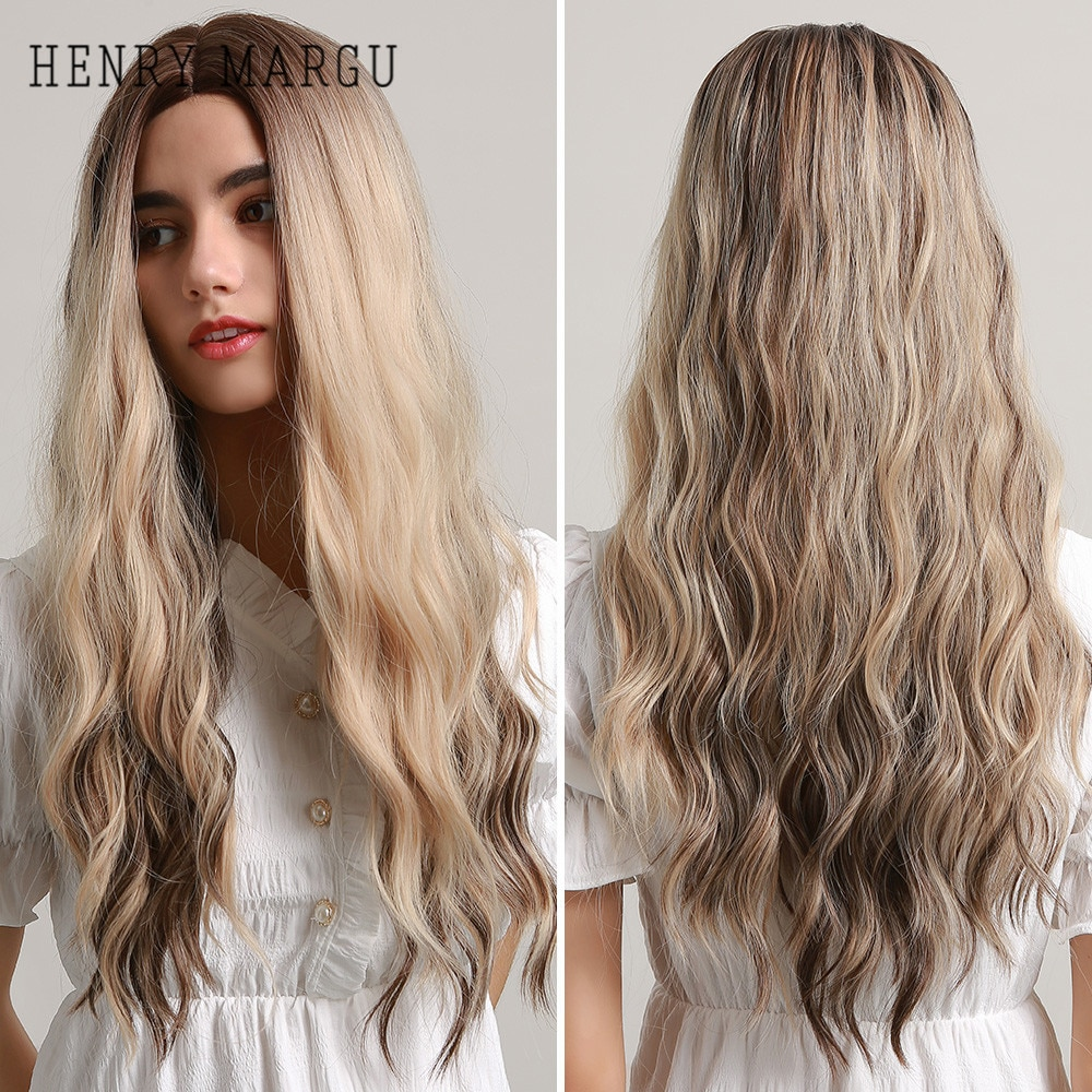HENRY MARGU Long Curly Wave Black Brown Highlights Blonde Hair Wigs Natural Cosplay Synthetic for Women Heat Resistant