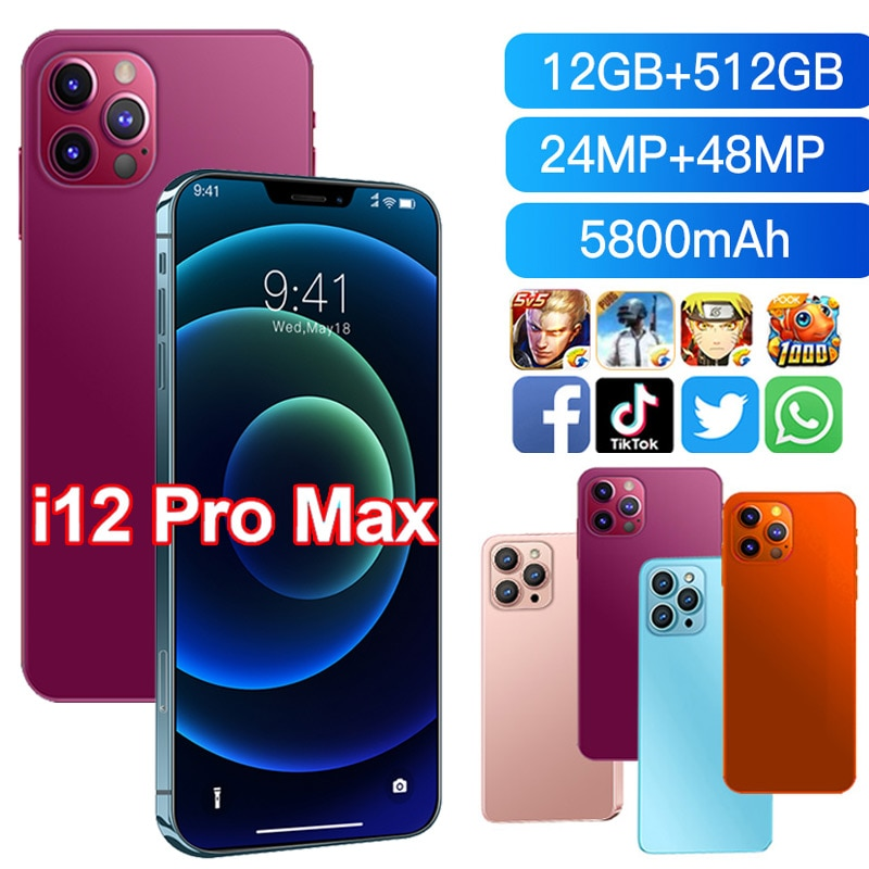 I12 Pro Max 6.7Inch Smartphone 12GB+512GB 5800mAh Face ID Google Android 10 Unlocked 5G Global Version Mobilephone Support GPS