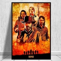 red dead redemption 2 game canvas poster wall art print painting wallpaper decorative wall picture for living room