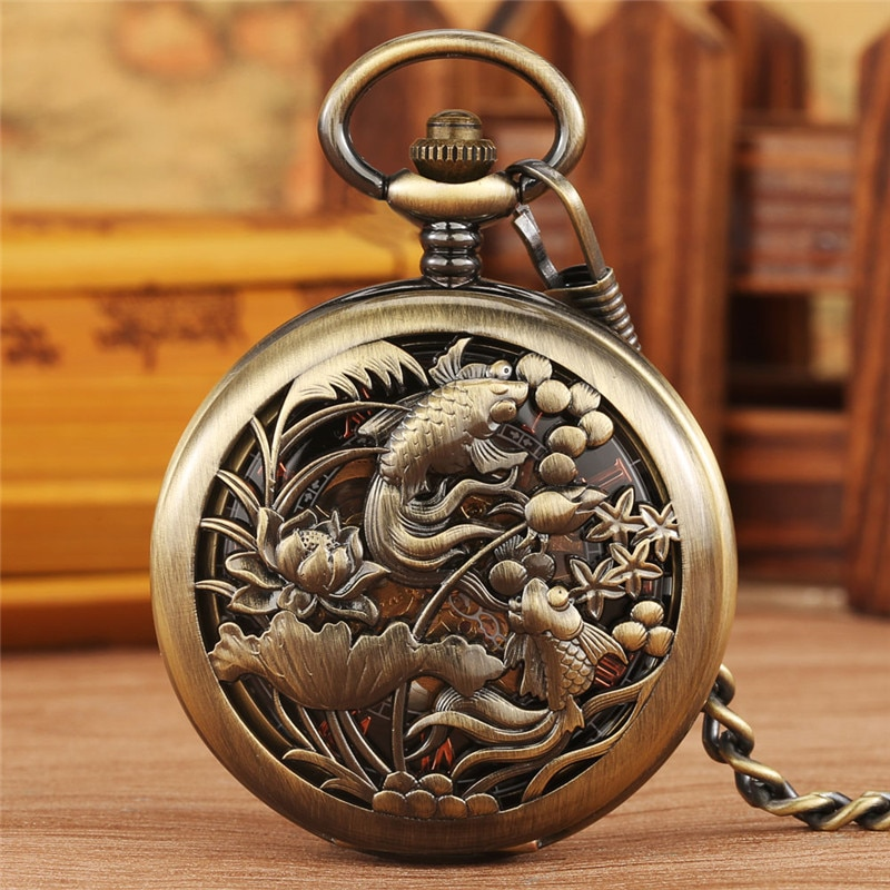 Bronze Silver Hollow Out Fishes Case Unisex Handwinding Mechanical Pocket Watch Pendant Chain Clock Roman Number Dial Reloj Gift