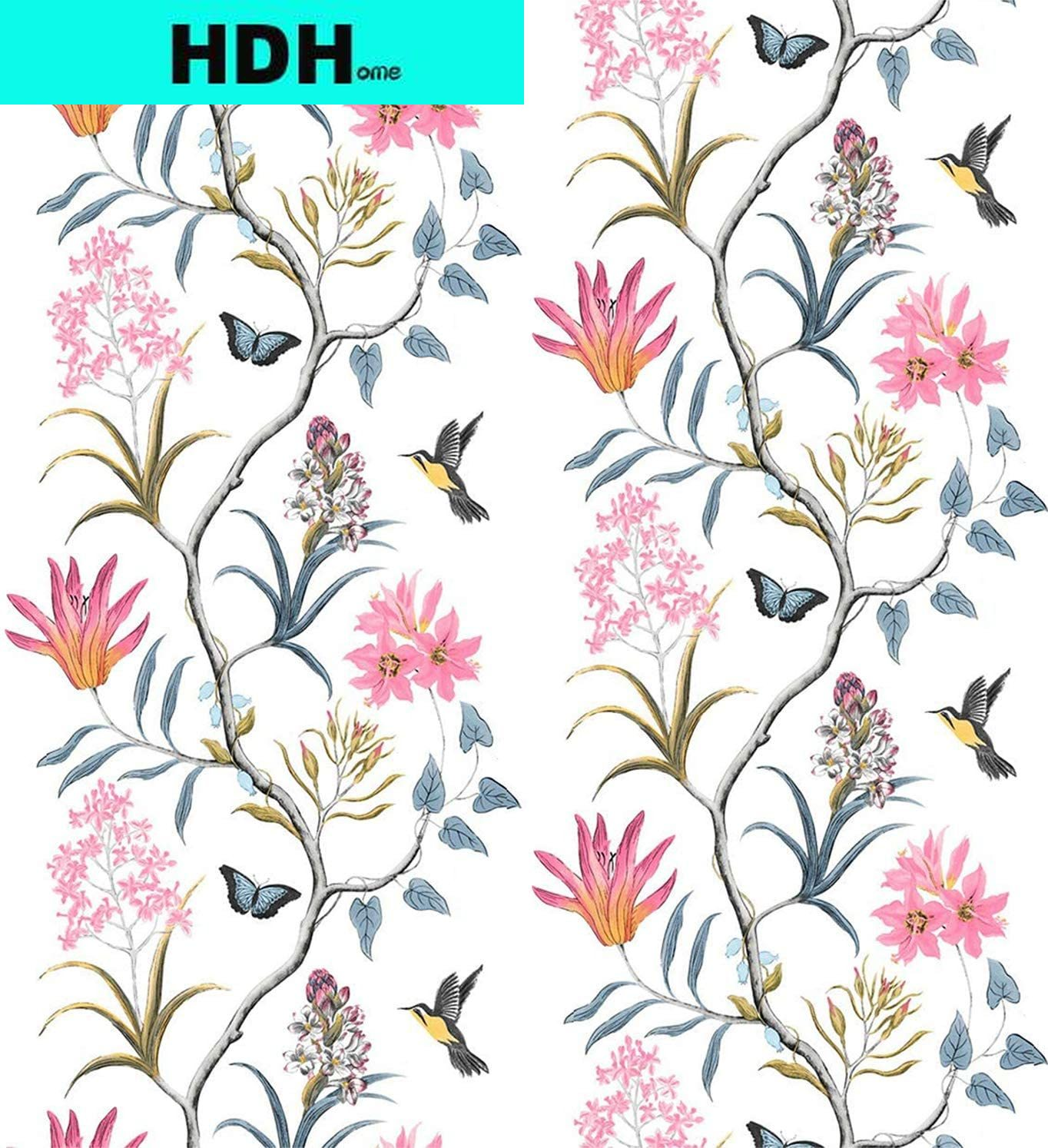 american style bedroom wall covering modern vintage pink floral wallpaper blue tropical butterfly birds flower wall paper Floral Wallpaper Vintage Self-Adhesive Wallpaper Removable Pink Wallpaper Leaf Bird Peel and Stick Wall Paper PVC Wall Decor