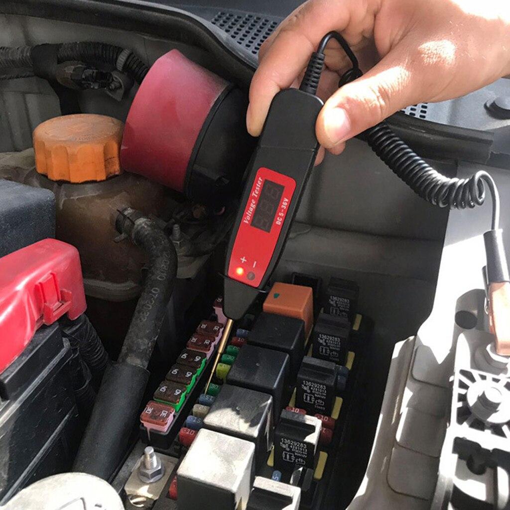 Автомобильный цифровой тестовый Карандаш 5-36 в, автомобильный ЖК цифровой электрический тестер напряжения, ручка для проверки напряжения а...