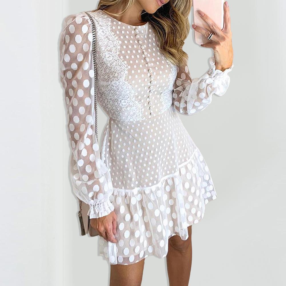 Women Sexy Long Mesh Sleeve O Neck Polka Dot Print Lace Stitching Mini Dress