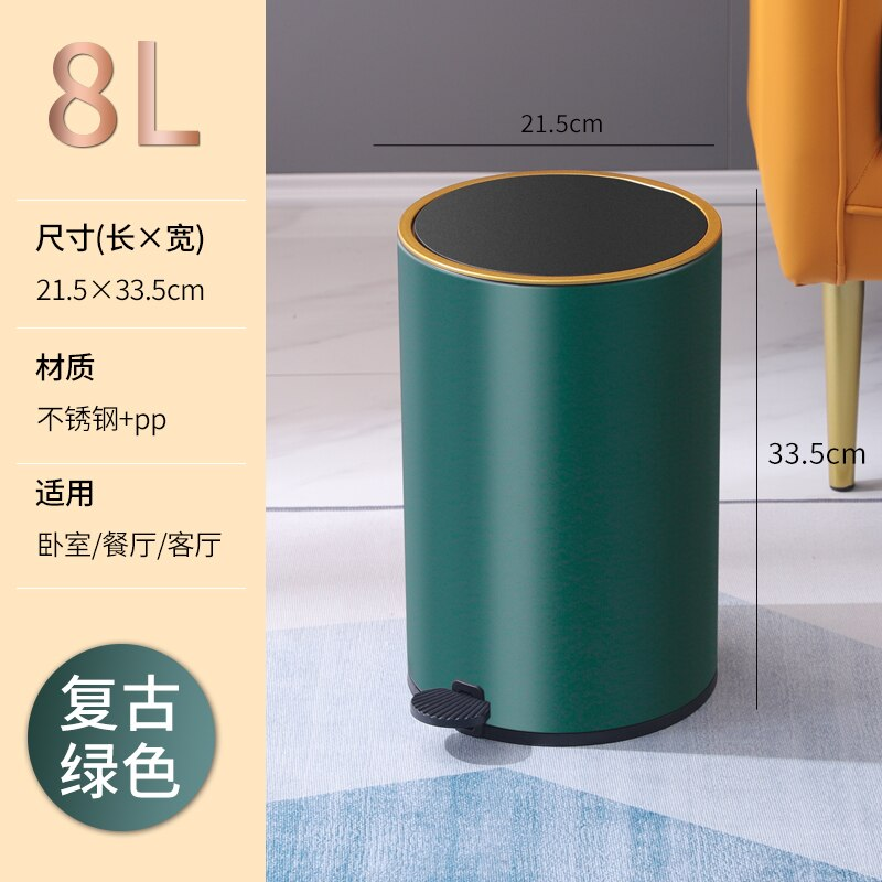 Luxury Modern Cover Trash Can Kitchen Nordic Minimalist Living Room Trash Can Bedroom Rangement Cuisine Kitchen Storage BC50LJT enlarge