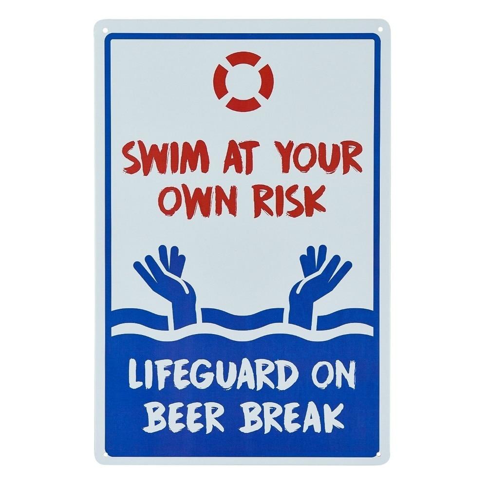Sinal de piscina-sem levantamento em duty nadar no seu próprio sinal de risco 12x10 vermelho, azul no branco ferrugem livre metal sinal