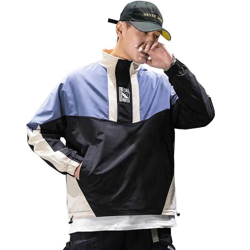 Полумолнии пуловер ветровка спортивные куртки для мужчин 2020 Осень Хип-хоп куртки в стиле Харадзюку уличная одежда для мужчин