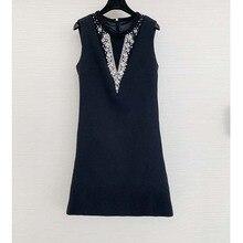Mini Dress Sexy Women Sleeveless V-Neck Diamonds Black Party Dresses Elegant Fashion Slim Prom Dress