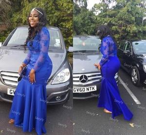 African Women Dresses Evening Wear Elegant Royal Blue Lace Mermaid Prom Dress Satin Long Sleeve Formal Dress Plus Size Robes