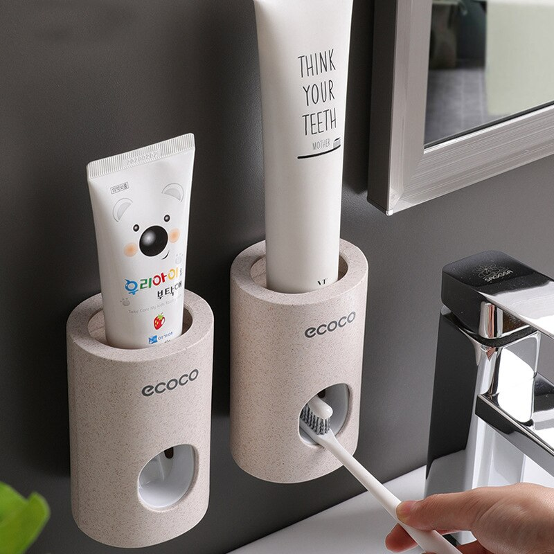 Nowy automatyczny dozownik pasty do zębów odporny na kurz uchwyt na szczoteczki do zębów stojak z uchwytem na ścianę zestaw akcesoriów łazienkowych pasta do zębów wyciskacz