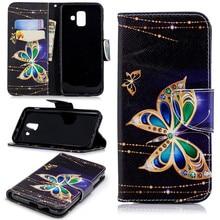 Lotus Painted Phone Case For Samsung Galaxy j2Pro A6 A7 A8 J4 J6 Plus 2018 S10 S10E S9 S8 S7 Edge Magnet Lock Lovely Capa V07G