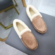 EOEODOIT Plus Size Winter Shoes Women Round Toe Slip On Plush Loafers Flat Heel Anti Skid Casual Cot