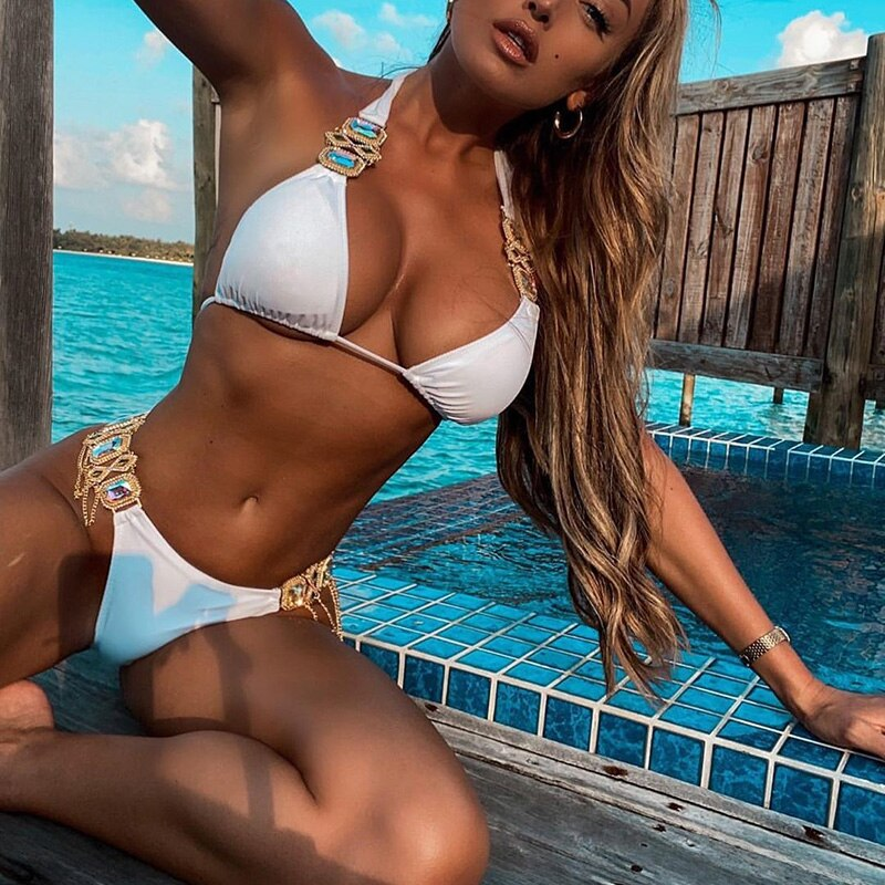 2021 Shiny Crystal Diamond Bikini Women Swimsuit Female Brazilian Swimwear Two pieces Bikini Set Rhinestone Halter Bathing Suit push up crystal diamond bikini 2020 bandage swimsuit women rhinestone swimwear female two piece bikini set halter bathing suit