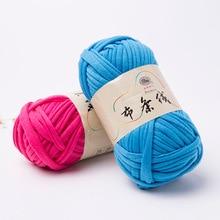 Bande en tissu épais 1000g = 10 boules   Fils 100% Polyester, artisanat tricoté à la main, Crochet bricolage, coussin couverture en tissu