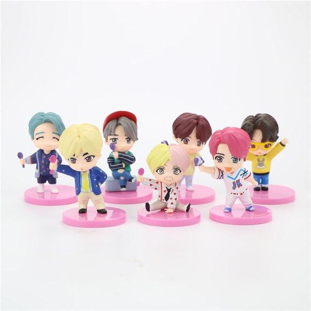 HOT 7pcs/lot 4G 5G 6G 7G TINY TAN Action Figure Bangtan Boys Toys Group Model KPOP Star TOP Funs A.R.M.Y PVC Birthday Gifts 2