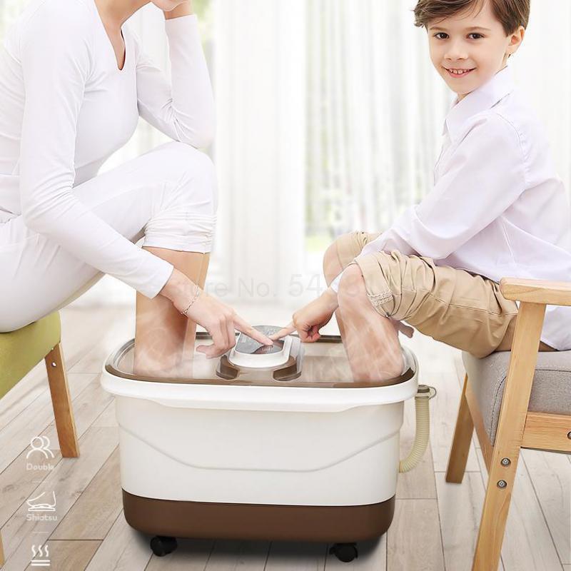 Bañera de doble pie lavabo automático masaje eléctrico termostato de calefacción máquina de masaje de pies hogar bañera de pies barril Artif