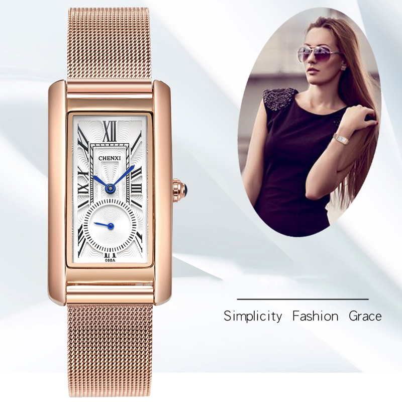 CHENXI Women Watches Luxury Square Rose Gold Mesh Strap Ladies Watch Fashion Quartz Watch For Women Bracelet Watch Reloj Mujer enlarge