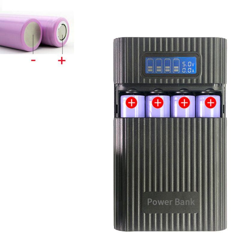 Anti-reverso diy power bank box 4x18650 bateria display lcd carregador para iphone q6pa