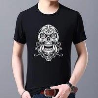 summer t shirt trend mens fashion demon skull print pattern series funny tops slim o neck black t shirt mens short sleeve tops
