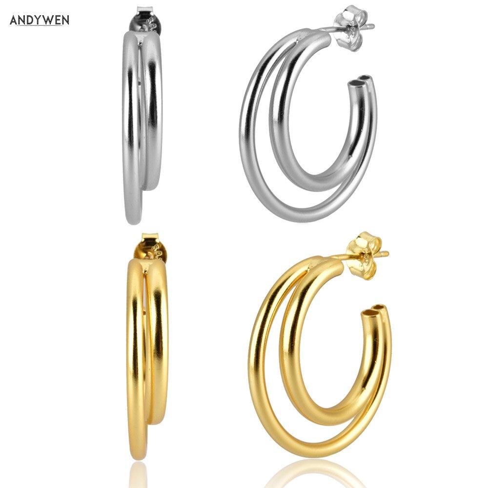 Pendientes de plata de ley 925 de ANDYWEN, grandes aros de doble círculo, Gran Cruz hueca colgante de lujo para mujer, joyería ohringe