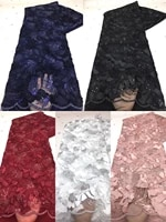 2020 high quality lace black navyblue white wine french net lace fabric 3d flowers african tulle lace with sequins for party