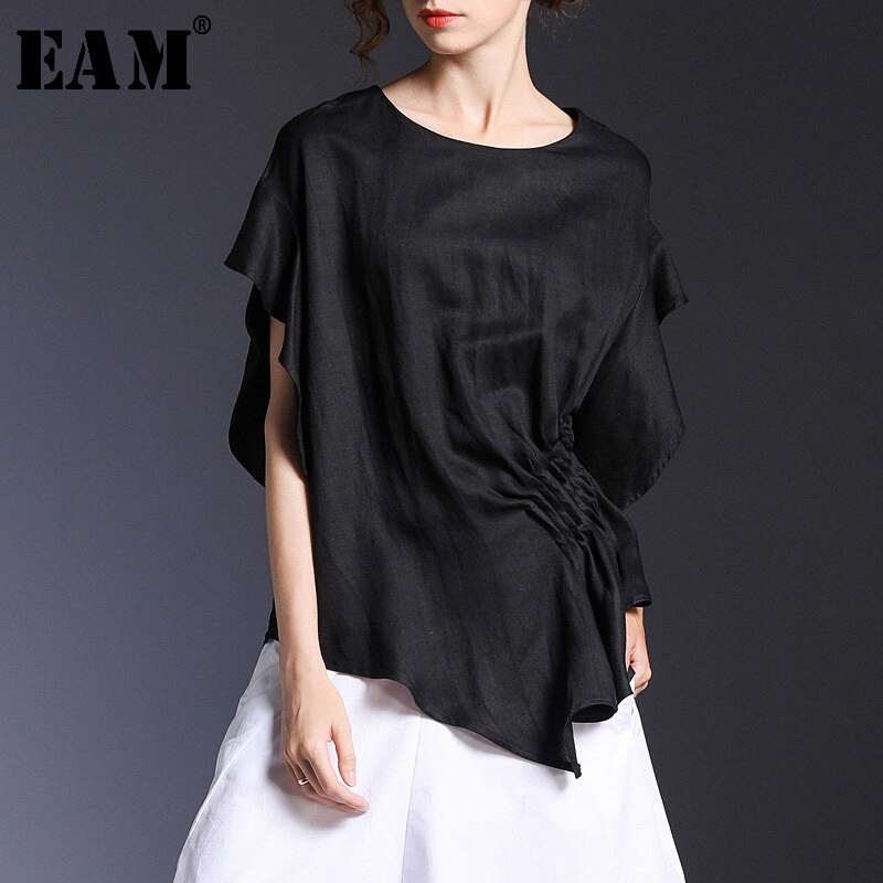 [EAM] 2020 nueva primavera verano cuello redondo manga corta negro holgado y plisado Irregular manga camiseta mujeres moda marea JS503