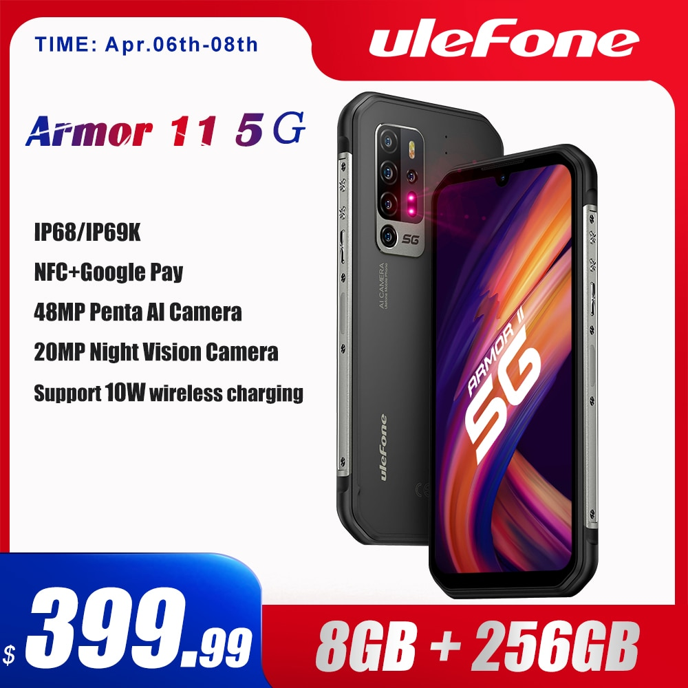 Ulefone Armor 11 5G Rugged Mobile Phone Android 10 8GB +256GB Waterproof Smartphone 48MP NFC Mobile