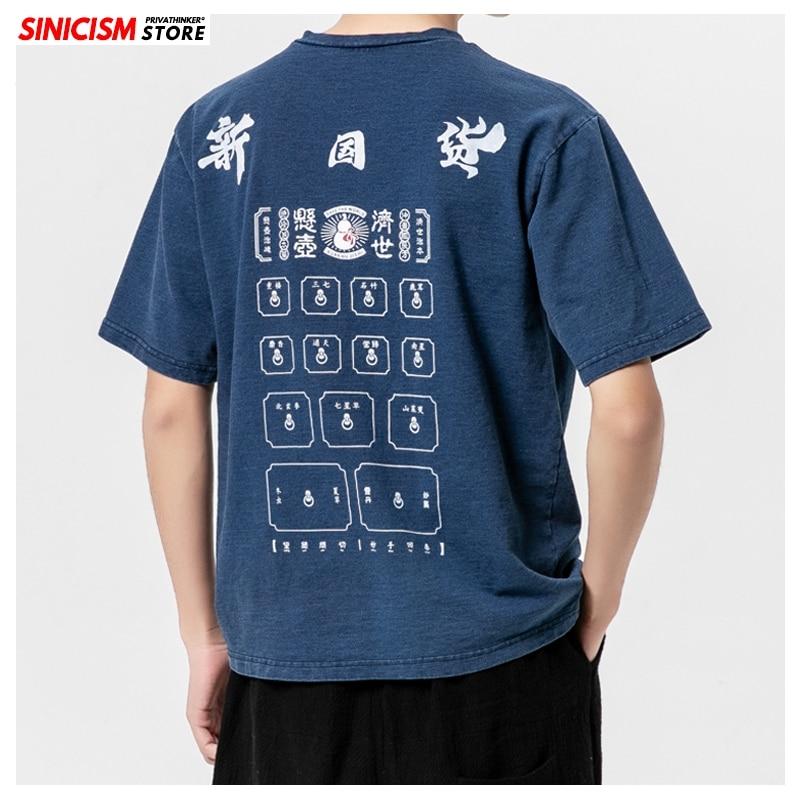 Singsstore japon hommes été t-shirts 2020 nouveau imprimé hommes manches courtes t-shirts coton homme T-shirts occasionnels grande taille