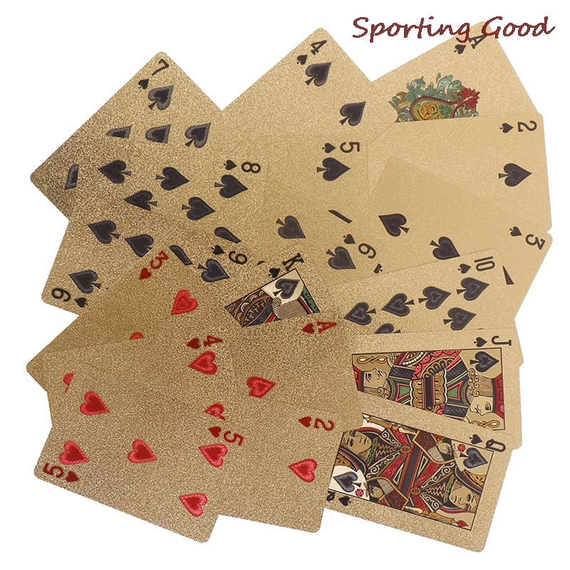 Playing Cards Plastic Poker Card Game Waterproof Poker Texas Hold'em  Blackjack Game Cards  Dropship Gold Card Game Customizable bicycle skull playing cards new poker cards for magician collection card game