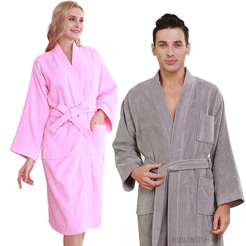 Mujeres 100% de algodón Kimono largo Terry Albornoz invierno grueso cálido de talla grande bata de dama de honor hombres Hotal Albornoz